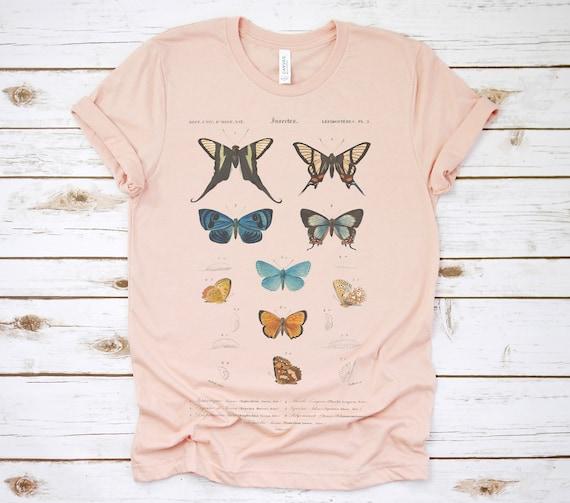 Butterfly T Shirt, Butterflies Shirt, Botanical T Shirt, Vintage T Shirt, Womens Tees, Womens T Shirts, Lithograph, Graphic T Shirt, Flowers by Etsy