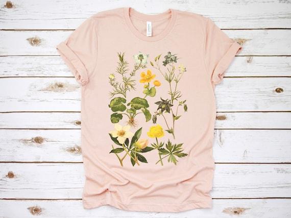 Botanical Shirt, Vintage T Shirt, Flower T Shirt, Tee, Vintage Botanical, Botanical Print, Vintage Flower Shirt, Graphic Tshirt, Wildflower by Etsy
