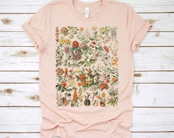 botanical shirt, vintage t-shirt, flower t-shirt, tee, vintage botanical, botanical print, vintage flower shirt, graphic tshirt, wildflower