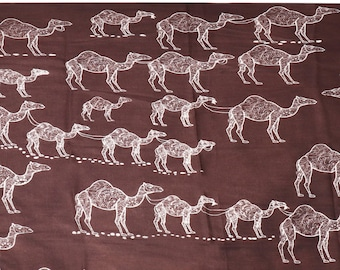 890a1b7dfdaaf Brand Kashka - Scarf Wrap - 100% Merino Wool - Camel - Brown - 110x210cms -  Hand printed in India