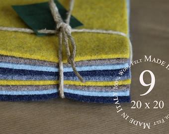 "Wool felt,100% Wool Felt Sheets ,3 mm Wool Felt sheets ,9 Sheets of 20"" X 20"" Felt ,5 colors, 50CM x 50CM,Merino Wool Felt Italian Wool Felt"