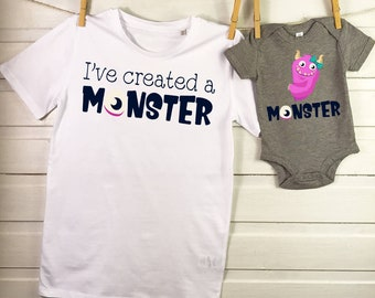 d45dc333a Father Daughter Matching Shirts Cute Monster, First Fathers day gift, Daddy  Daughter Shirt, Set of two shirts, Father Daughter T Shirt VC422