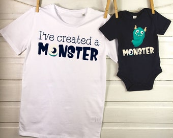 a699d73d Father Son Matching T- Shirts, Daddy Son Cute Monster Shirts , First Fathers  day, Dad shirt, Set Of Two T- Shirts VC422