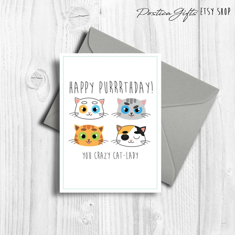 Cat Lover Birthday Card Printable Gift For Her 21st