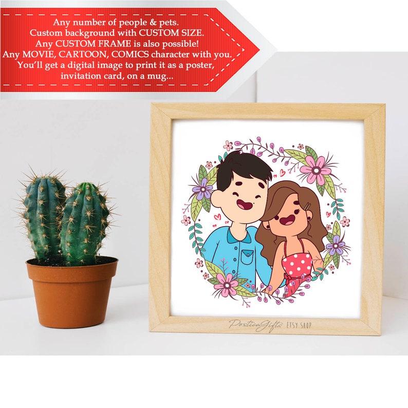 Personalized couple portrait Anniversary gifts Family custom portrait Boyfriend gift idea Girlfriend Engagement Illustration Wall art decor