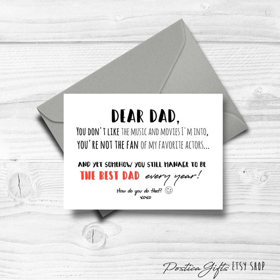 Father Birthday Card Thanks Dad Funny Gifts For
