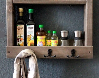 Wooden spice rack for the wall - brown - 2 shelves and metal hooks - 42 x 50 x 17 cm - solid wood