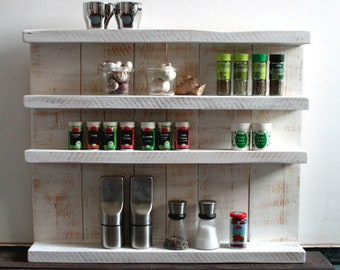 Wooden spice rack - for wall or standing - antique white - 4 shelves - 65 x 77 x 12 cm - solid wood