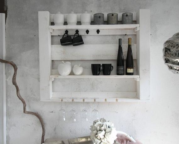 Wand Gewürzregal Weiß Vintage Shabby Gewürzhalter Landhaus Bauernhaus Küchenregal Großes Wandregal Küche Holz Fertig Montiert