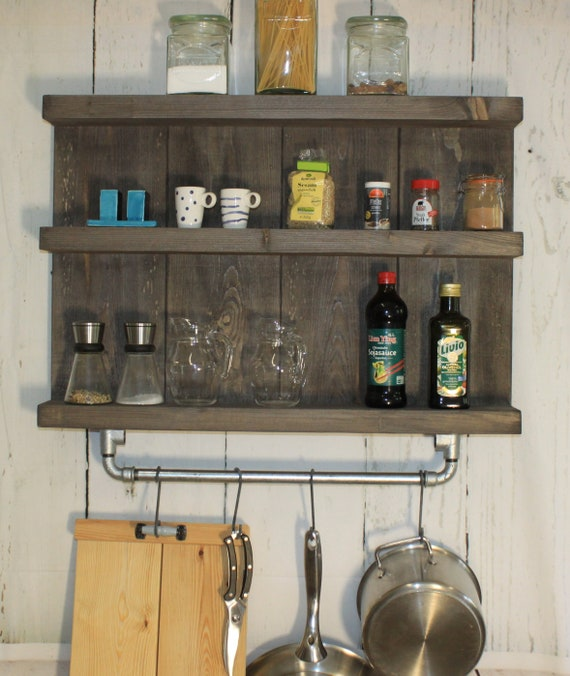 Kitchen shelf spice rack hanging shelf edging shabby vintage wood brown  ready assembled