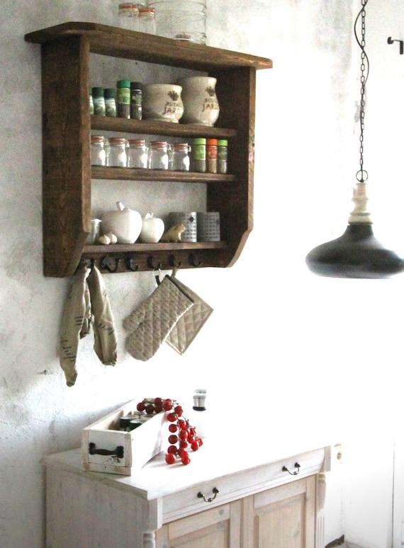 Mensola mensola portaspezie mensola da cucina in legno marrone squallido  casale rustico casale pronto assemblato