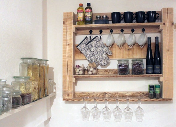 Mensola da cucina mensola da cucina mensola da parete vetrina pensile in  legno natura pronta assemblata
