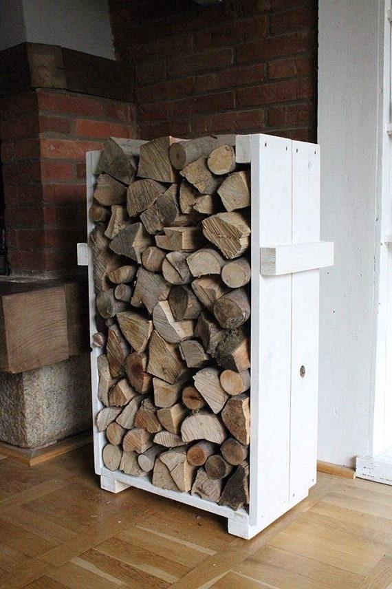 Scaffale Per Legna Da Ardere Contenitore In Legno Bianco Vintage Shabby Country House Completamente Assemblato