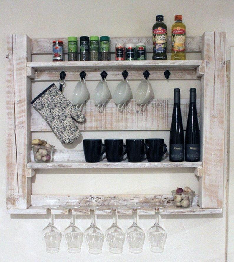 Montiert Küchenregal Küche Vintage Landhaus Bauernhaus Holz ...