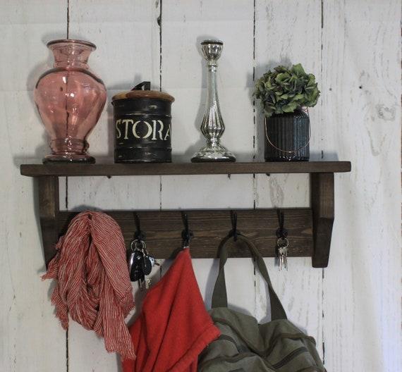 Schlüsselregal Garderobe Flurgarderobe Wand Garderobe Holz Landhaus Braun Vintage Shabby Fertig Montiert