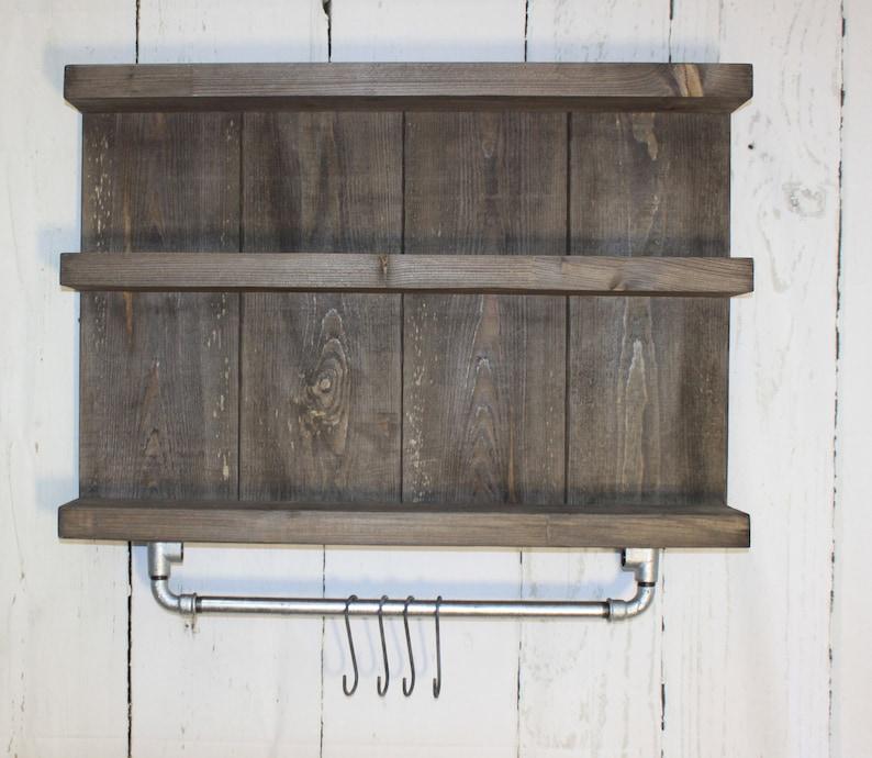 Holz Regal Badezimmer Hängeregal mit Stange Bad