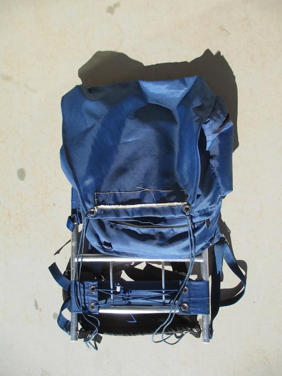External Frame Backpack Blue Vintage Hiking