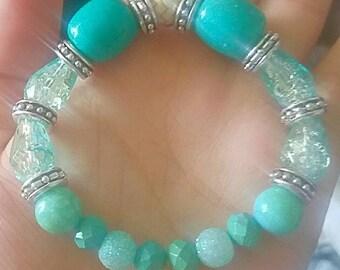 Teal Turquoise Bohemian Beaded Bracelet