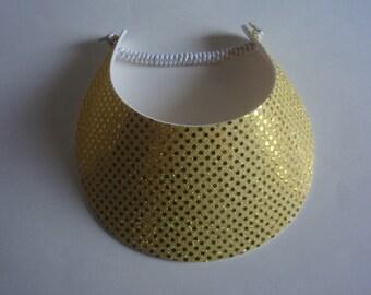 0121249bfe216 Curly Lace Foam BIG BRIM Gold Glitter Sun Visor Laminated with Fashion  Fabrics ***** 2 Visor Minimum for FREE Shipping*****