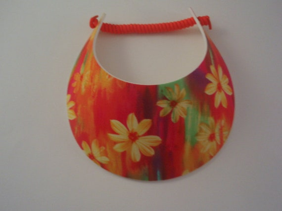 Curly Lace Foam BIG BRIM Red Sun Visor Laminated with Fashion Fabrics ***** 2 Visor Minimum for FREE Shipping*****