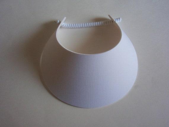 Curly Lace Foam BIG BRIM  White Swirl Sun Visor Laminated with Fashion Fabrics ***** 2 Visor Minimum for FREE Shipping*****