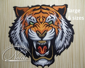 Large Tiger back patch for Jeans, sew on patch, iron on patch for jackets, patch embroidered for men, patch gift, animal patch for backpack