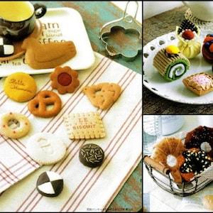 106 FELT SWEETS PATTERN-\u201cMy Favorite Felt Sweets\u201d-Japanese Craft E-Book #435.Birthday Cake-Rose Basket-Tea Chiffon-Petit Fours-Tartlets.