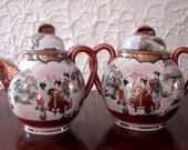 Vintage set, teapot, sugar, Japanese ladies, Geisha hand painted, fine porcelain, in a landscape, Japonnais