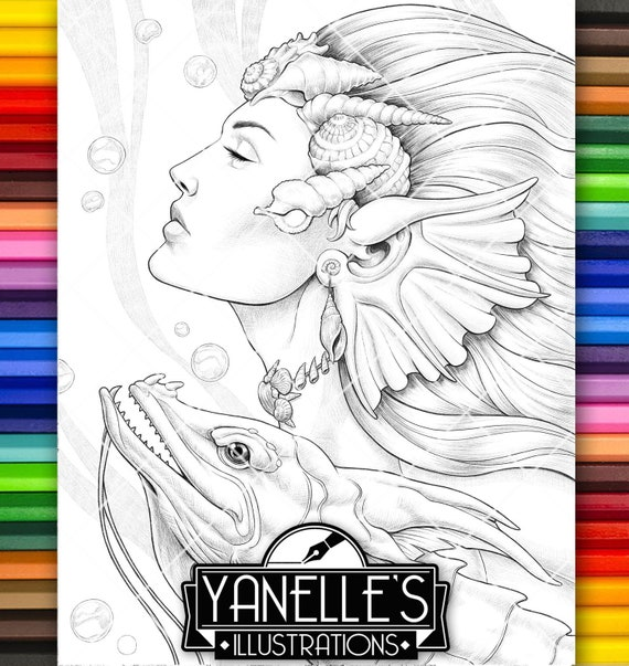 Adult Coloring Page Mermaid Fairy Sea Dragon Sea Monster Lady Portrait  Pencils Shading Coloring Book Instant Download PDF Illustration