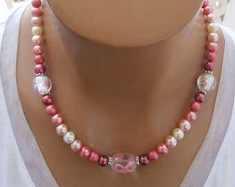 Support Breast Cancer Awareness, mixed media beads, 18 inch necklace, toggle clasp