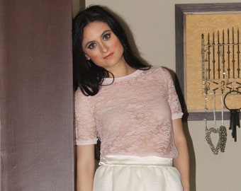 Pink Lace T-shirt blouse with ruffle
