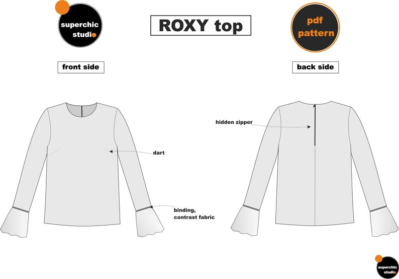 Roxy Top-34-36-38-Sewing Pattern-PDF AO Copyshop-Inspired by Roksanda Collection