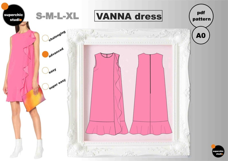 VANNA Dress S-M-L-XL Sewing Pattern-PDF A0 Copyshop-Inspired by Valentino Collection
