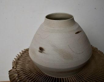Large handmade moon vase with abstract brushstroke pattern - ceramic vase, pottery vase