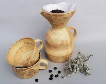 Handmade modern curvy ceramic coffee dripper set - Coffee Mug, Tea Mug, Cappucino Mug, Pottery Mug