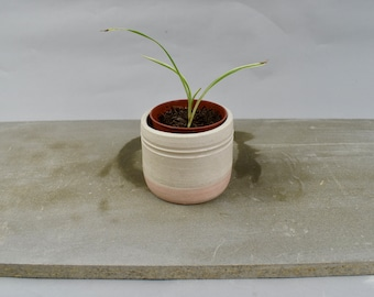 Small handmade white ceramic planter - stoneware, pottery plant pot