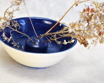 Handmade stoneware ikebana vase - pottery, ceramic vase, bud vase, bright blue
