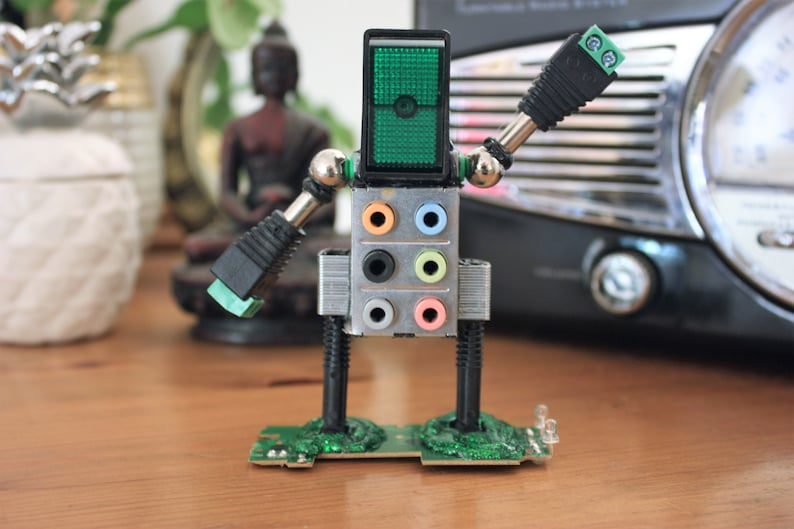 Computer Geek Recycled Robot - For Nerds and Sci-Fi lovers alike and made  from up-cycled tech parts!