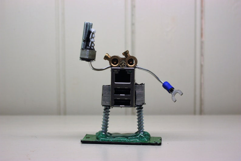 Computer Geek Robot sculpture - A perfect gift for nerds and sci-fi lovers  alike made from recycled tech parts!