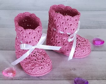 New baby gift Baby booties Baby booties for girl Gift baby booties Baby booties crochet Booties newborn Baby boots Pink baby booties