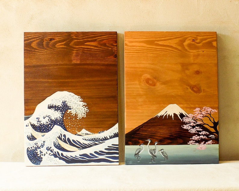 Japanese Wood Art Japanese Wall Art Kanagawa Wave Wall Art Etsy