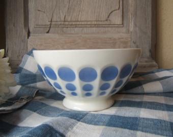 Antique Huge French Cafe au lait BOWL PETIT DEJEUNER  BREAKFASt white and blue faceted Polka Dot circa 1950