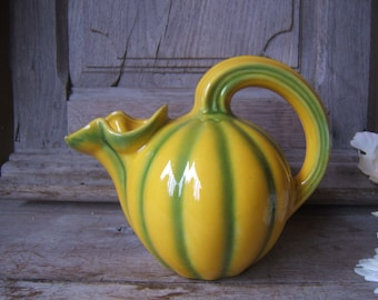 Gorgeous french majolica jug PITCHER MELON signed LONGCHAMP France Provence