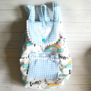 kindergarten gruel made of placemat and cutlery in comfortable case hand embroidery in classic boy colors