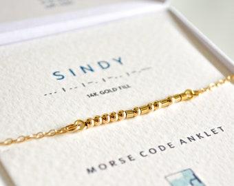 Morse Code Jewelry Sterling Silver Anklet Gold Fill Anklet Ankle Bracelet Beaded Miyuki Anklet Personalize Anklet Anklet For Woman