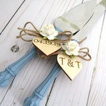 Rustic Chic Wedding Cake Server Knife Set Dusty Blue with White Flower Personalized Wood Hearts Bridal Shower Gift Wedding Gift