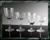 Vintage 4 Piece Set of Libbey Rock Sharpe in Crystal Garland Pattern