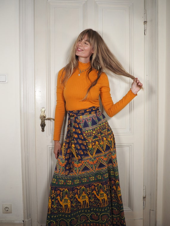 Vintage maxi skirt, vintage wrap skirt, wrap skirt