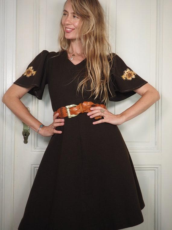 brown 70s dress, 1970s brown dress, brown vintage