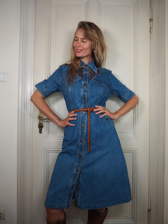 70s denim dress, vintage denim dress, denim dress,